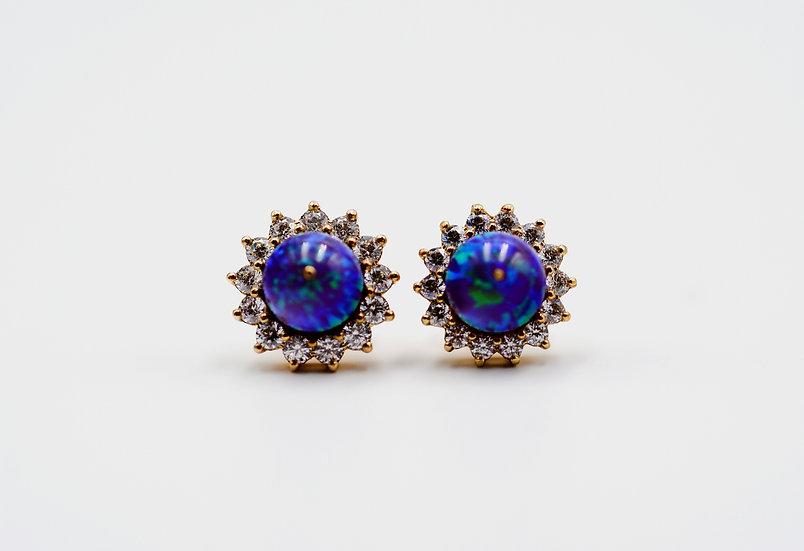 14K Solid Gold & Purple Fire Opal Stud Earrings