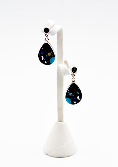 Black Onyx & Multicolor Fire Opal Inlay Sterling Silver Galaxy Dangle Earrings