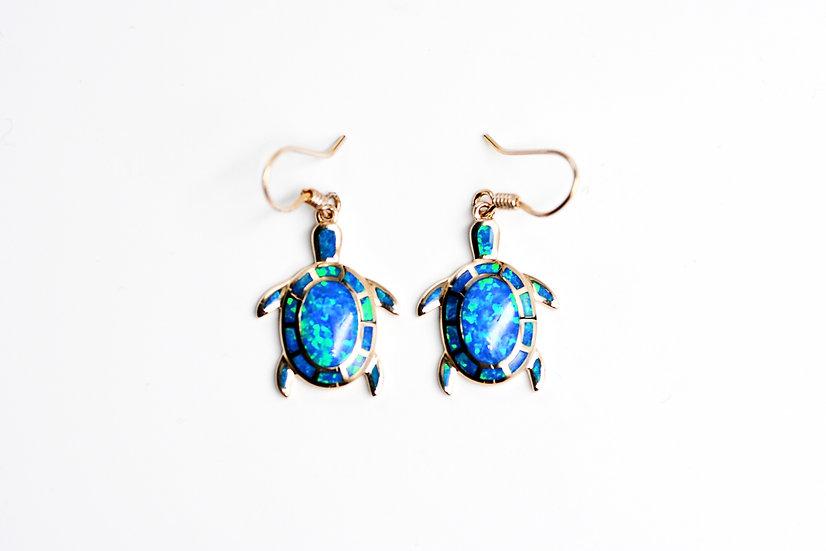 14K Solid Gold & Blue Fire Large Opal Turtle Earrings