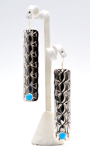Navajo Style Sleeping Beauty Turquoise Sterling Silver Dangle Earrings