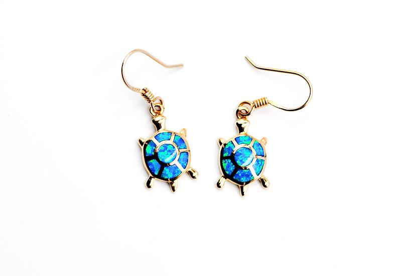 14K Solid Gold & Blue Fire Opal Turtle Earrings
