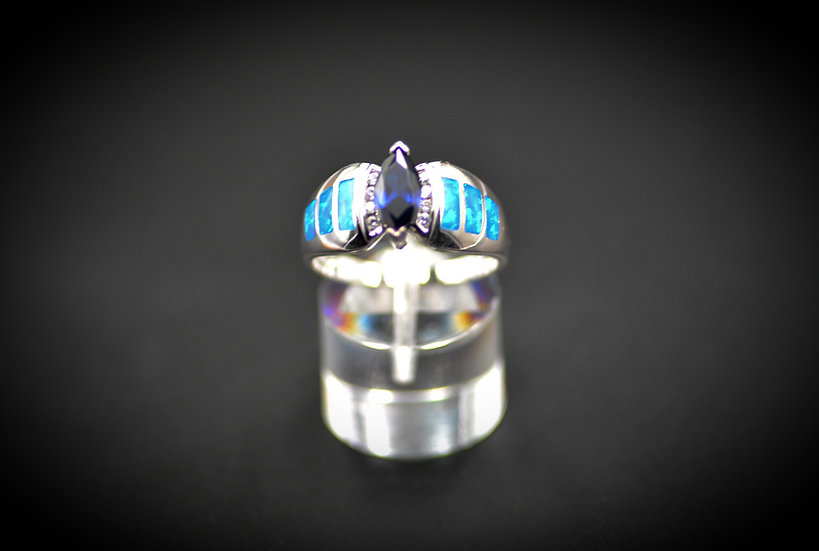 Marquise Tanzanite & Blue Fire Opal Ring