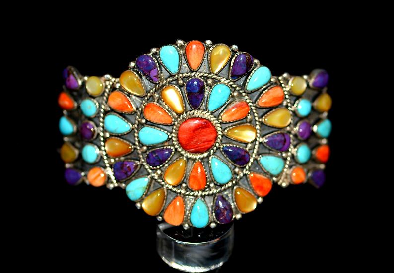 Navajo Style Sterling Silver Multicolor Cluster Cuff Bracelet