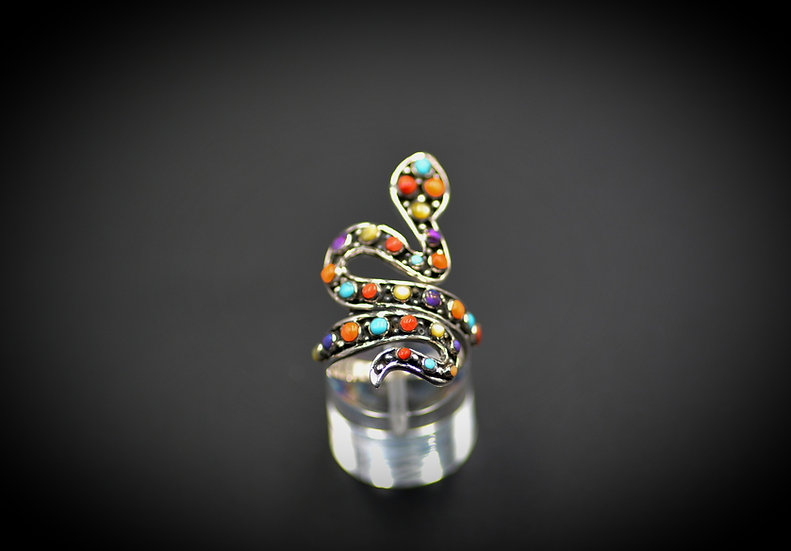 Sterling Silver Snake Multicolor Ring