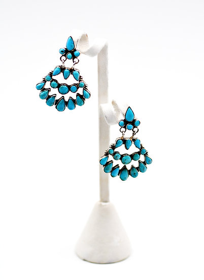 Genuine Kingman Turquoise Sterling Silver Post Dangle Earrings