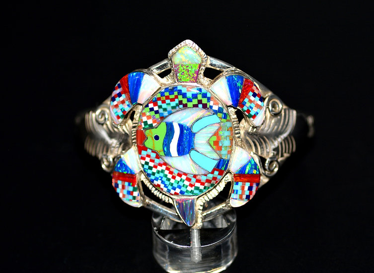 Micro Inlay Sterling Silver Multicolor Cluster Cuff Bracelet
