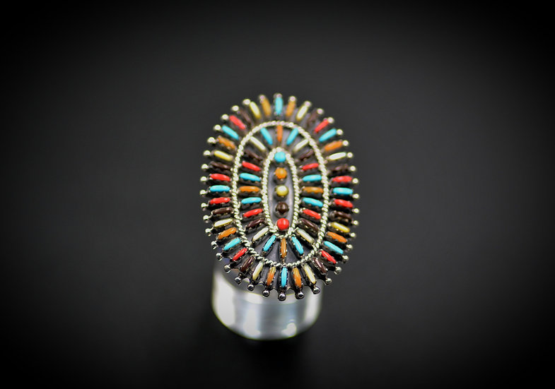 Navajo Sterling & Genuine Multicolor Inlay Needlepoint Cluster Ring