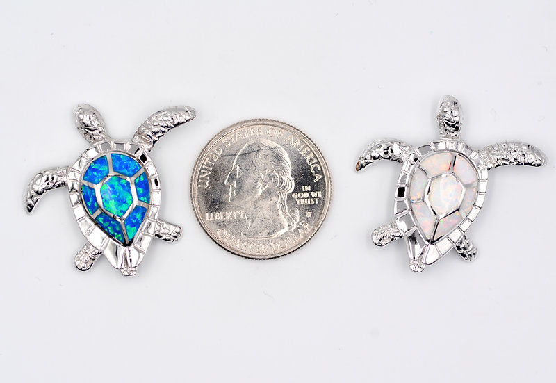 Blue or White Fire Opal Sterling Silver Large Turtle Pendant