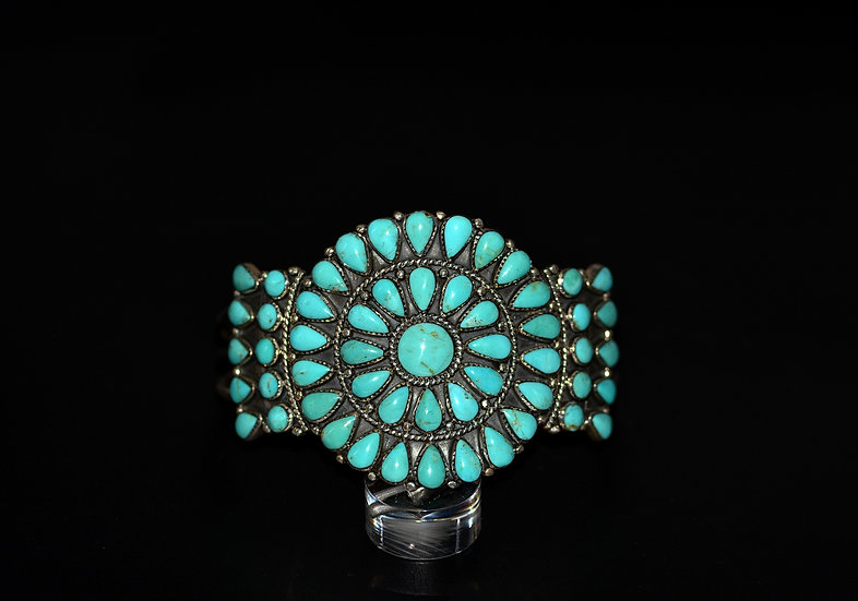 Navajo Style Sterling Silver Turquoise Cluster Cuff Bracelet