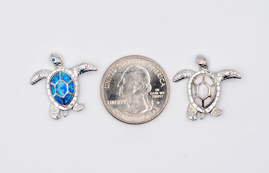 Blue or White Fire Opal Sterling Silver Turtle Pendant