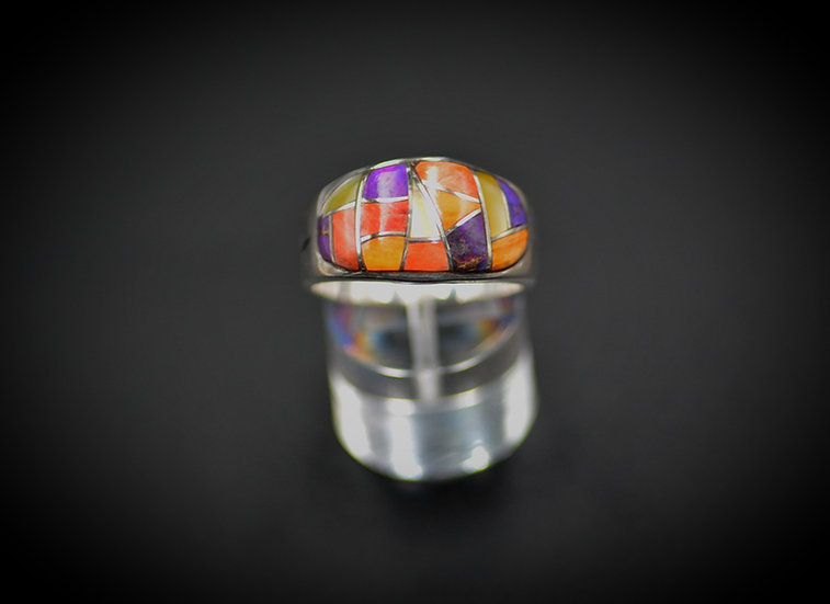 Multicolor Inlay Straight Ring