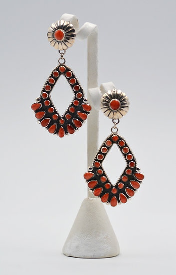 Red Coral Sterling Silver Post Southwest Style Earrings