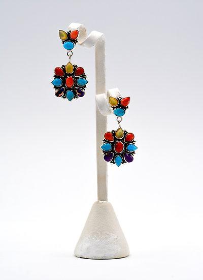 Multicolor 925 Sterling Silver Post Southwest Style Earrings