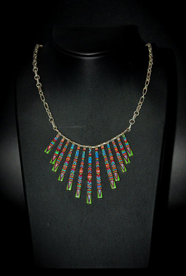Micro Inlay Multicolor Stone Sterling Necklaces
