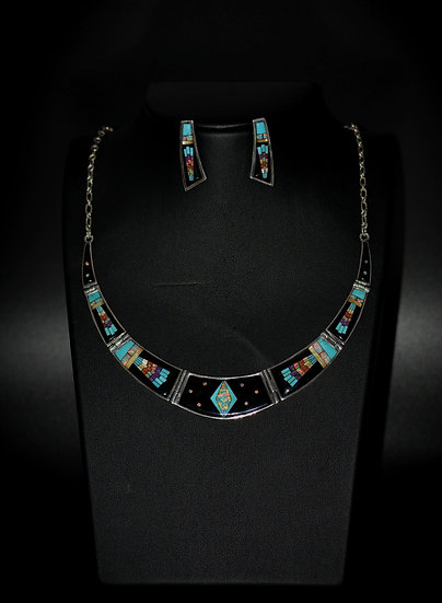 Navajo Micro Inlay Multicolor Stone & Sterling Silver Kachina Necklace Set