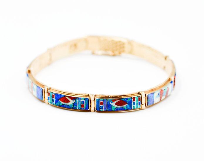 14K Solid Gold & Fire Opal Animal Spirit Bracelet