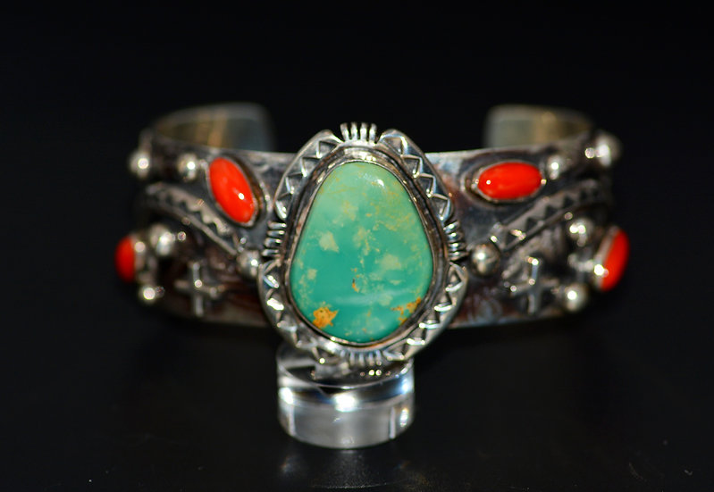 Sterling Silver Turquoise & Coral Cuff Bracelet