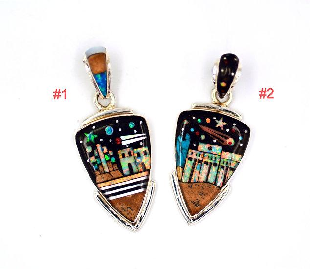 Southwest Multicolor Pueblo Inlay Sterling Silver Pendant