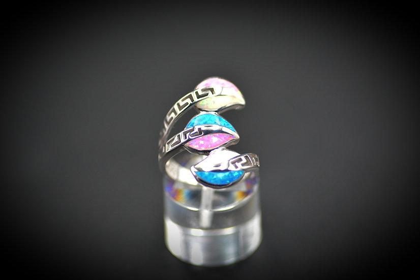 Large Sterling Silver Leaf Multicolor Opal Ring