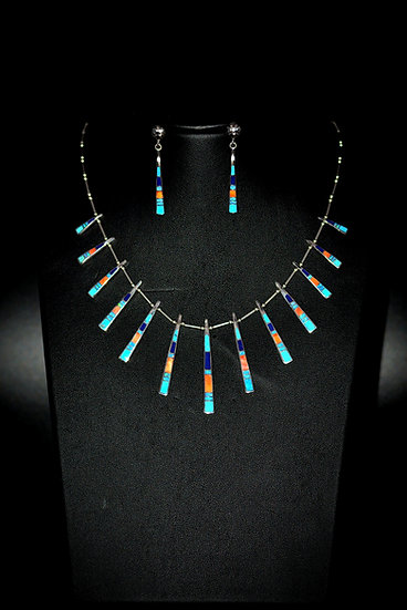 Multicolor Inlay Stone Sterling Necklaces Set