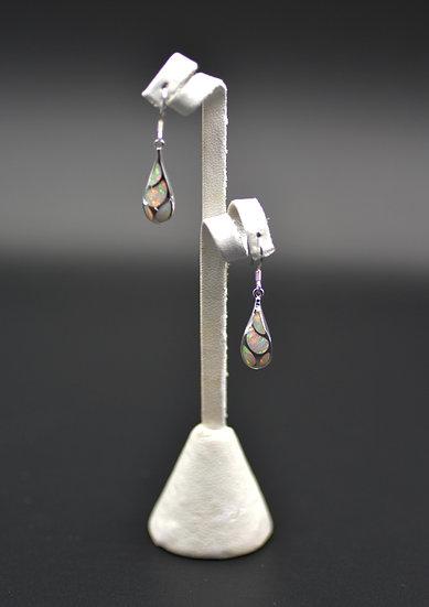 Teardrop White Fire Opal Dangling Earrings