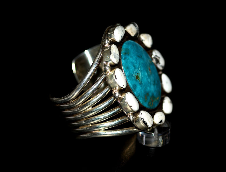 Navajo White Buffalo, & Black Creek Turquoise 925 Sterling Silver Bracelet