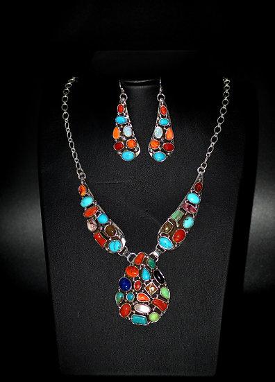 Navajo Style Sterling Silver Multicolor Set Dangle Earrings