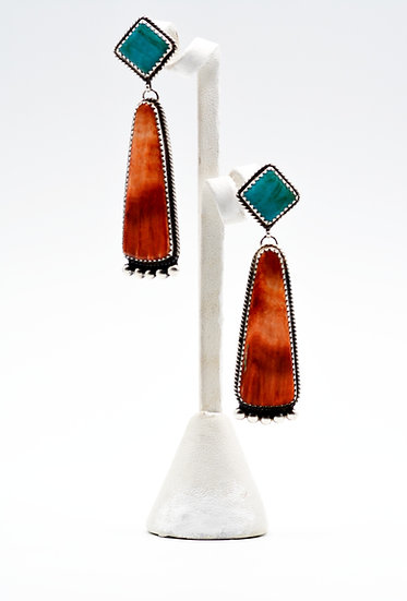 Navajo Style Spiny Oyster and Turquoise Post Earrings
