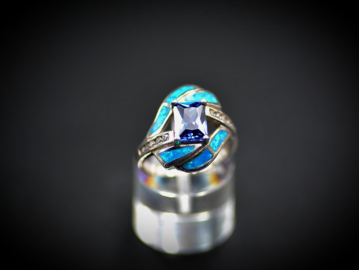 Princess Cut Tanzanite & Blue Fire Opal Ring