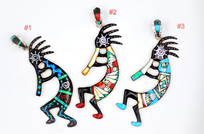 Multicolor Inlay 925 Sterling Silver Kokopelli Pendant
