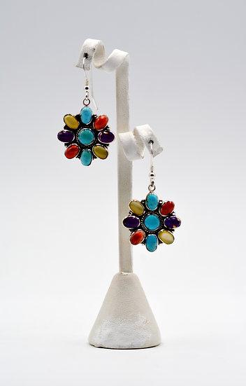 Multicolor 925 Sterling Silver Dangle Southwest Style Earrings