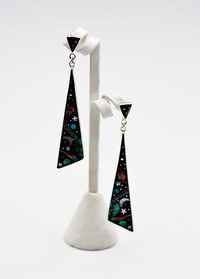 Multicolor Black Onyx 925 Sterling Silver Galaxy Post Dangle Ear