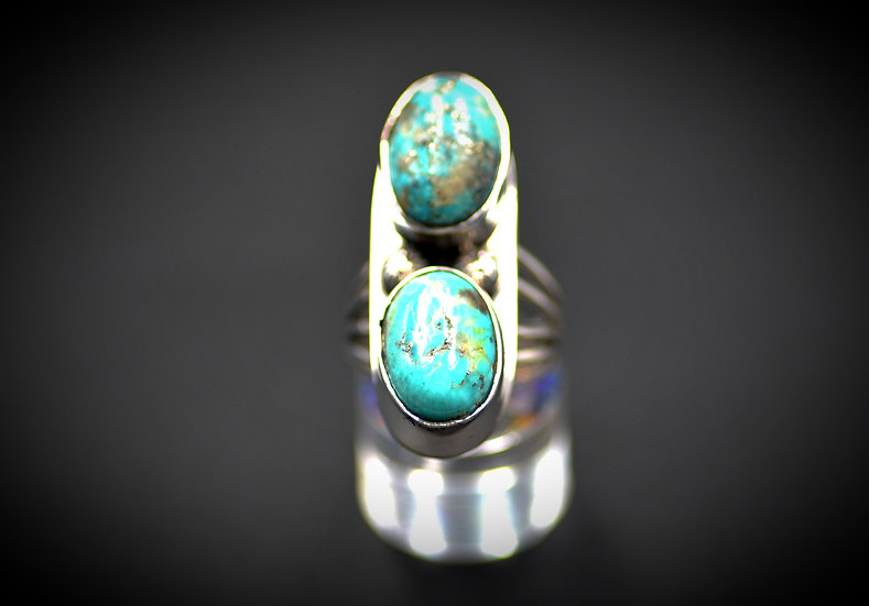 Sterling Silver Two Stone Royston Turquoise ring - Size 7