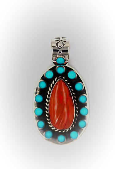 Spiny Oyster & Kingman Turquoise Handmade Oval Sterling Silver