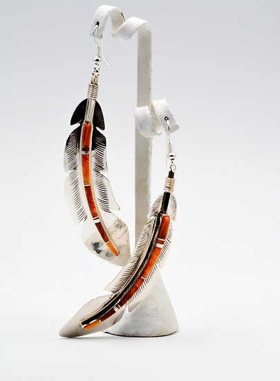Southwest Feather Spiny Oyster Earrings
