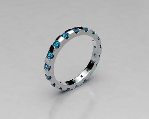 Platinum eternity tension set with Princess cut sapphires