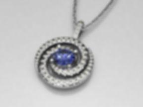 Sapphire and diamond spiral pendant