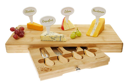 10 Piece Large Bamboo Cheese Board set inc 4 Knives / 4 porcelain markers & pen