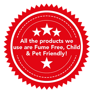 All the products we  use are Fume Free, Child & Pet Friendly!