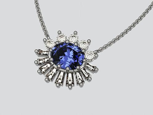 Platinum Oval Sapphire pendant