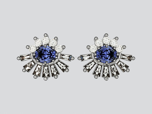 Platinum Single Oval sapphire earrings