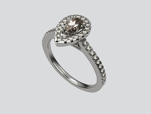 Platinum Pearshaped Ring