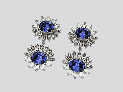 Platinum Double Oval Sapphire earrings