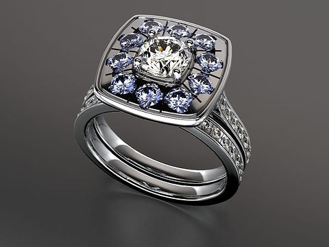 Brilliant cut sapphire diamond ring with pave