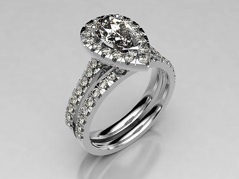 earshaped Diamond Halo with fine pave