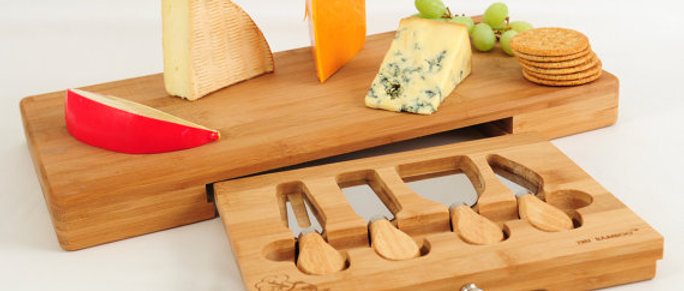 Premium Moso Bamboo Extra Large Cheese Board & Knife Set
