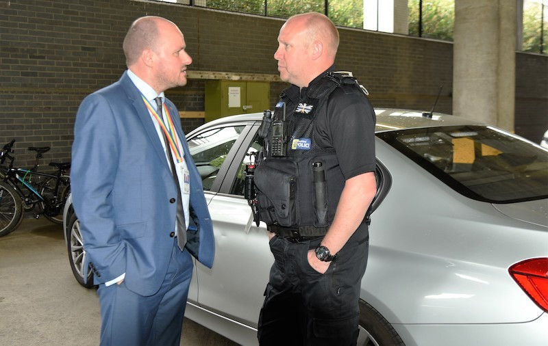 PCC David Keane with PC David Flanagan from the roads and crime unit