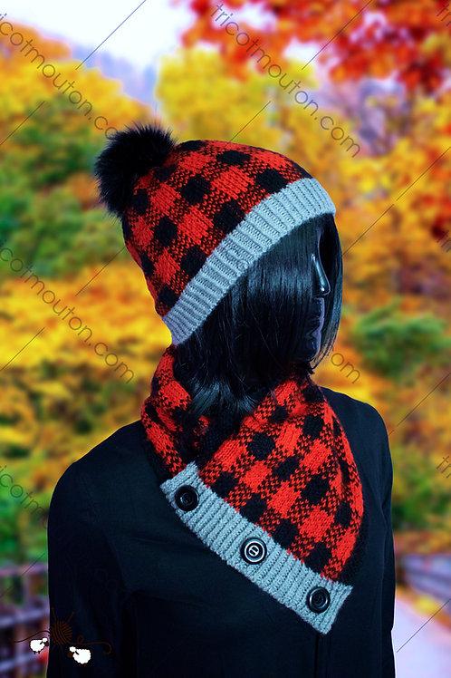 Kit de laine - Tuque et cache-cou ''Collection carreaux'' #TFK-06