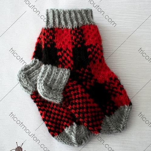 Kit de laine - Chaussons pour bébé ''Collection Carreaux'' BBK-04