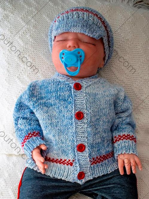 Kit de laine - Veste et casquette jeans pour bébé #VBBK-02